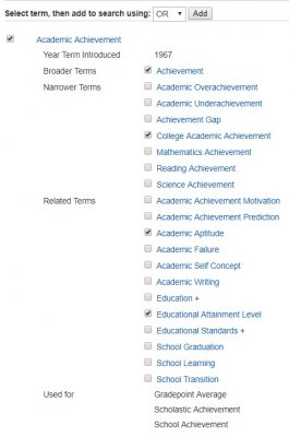 list of subject terms related to academic achievement in psycINFO