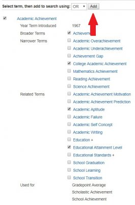 adding our selected subject terms using OR